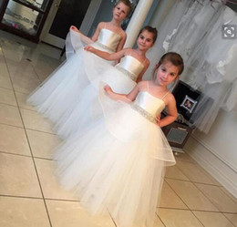 Wholesale Tutu Girls Pageant Dresses Cheap - Cheap flower girl dresses for weddings flower girl dresses ball gown tutu tulle skirt crystal sash cheap girls pageant communion dresses