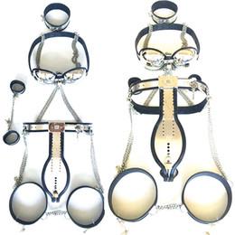 Wholesale Male Chastity Belt Bra Set - 5pcs set Stainless Steel Chastity Belt Bondage Collar Chastity Belt Male Chastity Device Handcuffs for Men G7-4-27