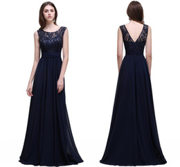 Wholesale Cheap Designer Formal Dresses - New Simple Modest Dark Navy Chiffon Bridesmaid Dresses 2017 Cheap Scoop Sleeveless A Line Formal Wedding Guests Party Wear CPS526