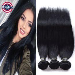 Wholesale Double Jet - Jet Black Brazilian Straight Virgin Hair 3 Bundles #1 Jet Black Human Hair Extensions Brazilian Straight Human Hair Weave Bundles Unifos