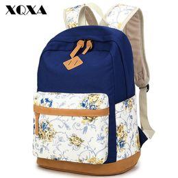 Wholesale Vintage Canvas Backpack Floral - Wholesale- XQXA Brand Quality Floral Canvas Bag Backpack School for Teenager Girl Laptop Bag Printing Backpack Women Backpack