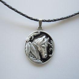 Wholesale Western Necklaces - Wholesale-Black Enamel Western Horse Oval Metal Charm Pendant Leather Necklace