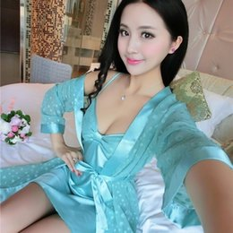 Wholesale Summer Lovers Sleepwear - Wholesale- 2017 Spring Summer Fall Women Silk Sleepwear Sets of Robe & Nightgown Lady Home Casual Dress Female Bathrobe Lover Sexy Lingerie