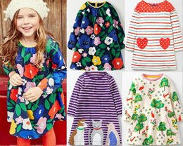 Wholesale Spring Dress Stripe - 10 styles Little maven Europe and America style Autumn New arrival Long sleeved child dress 100% cotton Cartoons animals stripes girl dress