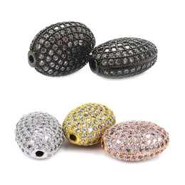 Wholesale Oval White Bead - Wholesale Jewelry Spacer Beads White CZ Cubic Zirconia Pave Micro Setting Flat Oval Shape Metal Beads DIY Jewelry Finding,7x10x14mm,2Pcs