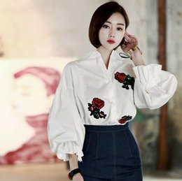 Wholesale Womens Office Cotton Shirts - Fashion 2017 Spring Full Sleeve Floral Embroidered Blouse Women Stylish Business Office Short Sexy Womens Blouses Shirts