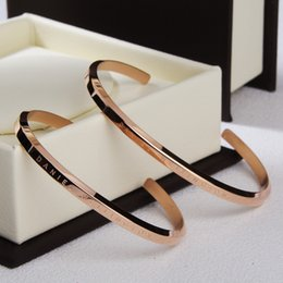 Wholesale Gold Open Cuff Bracelet - DW Bangle Rose Gold Classic Cuff Open Stainless Steel Adjustable Bracelet Bangle