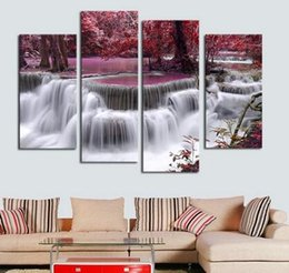 Wholesale Canvas Beautiful Flower Paint - Unframed Wall Deco 4 Panel Sets Beautiful Waterfall Landscape Painting Flowers Modern Pictures on Canvas Artwork Print Customi