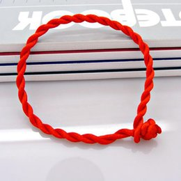 Wholesale lucky red bangle - Hot 100pcs lot Red String Fate Rope Bracelets Friendship Bangles Fashion Handmade Cord Lucky Christmas Gift Free Shipping B001