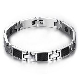 Wholesale Fiber Magnetic Bracelet - health care carbon fiber hand bracelets bangles men magnetic bracelets&bangles for men jewelry SBRM-057