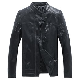 Wholesale Mens Leather Top Coat - Wholesale- Top Quality 5XL Leather Jacket Male Famous Brand Oversized Mens Leather Jackets and Coats High Quality Leather Jacket China
