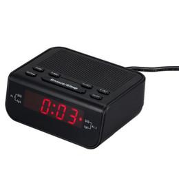 Зуммер красный онлайн-Freeshipping новое прибытие цифровой будильник FM-радио с двойной будильник зуммер таймер сна красный светодиодный дисплей времени главная стол радио часы