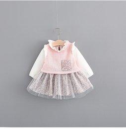 Wholesale Toddler Sweet Lace Dresses - 2017 Fall princess dresses girl long sleeve Floral Dress Korean Sweet Ruffle Kids Tutu Dress Fashion Cute Toddler Party Dress C2156
