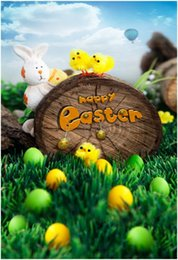 Wholesale Blue Photography Backdrops - Happy Easter Photography Backdrops Vinyl Blue Sky Green Grassland Spring Scenic Cute Animal Kids Photo Studio Background