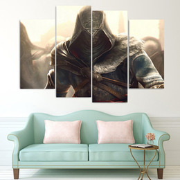 Wholesale Cartoon Painting Games - 4 Pcs Set Framed HD Printed Assassins Creed Game Picture Wall Art Canvas Print Decor Poster Canvas Modern Oil Painting Artworks