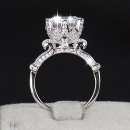 Wholesale R Cluster - Wholesale- R&J 4.0ct AAAAA Level CZ Ring Fashion Women Gift 925 Solid Sterling Silver Jewelry 2016 Brand Wedding Ring Flower Crown Design