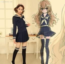 Wholesale School Uniform Costumes Cosplay - Wholesale-Anime TIGER DRAGON Toradora Aisaka Taiga salior Cosplay Costume sexy halloween costumes for women School Suit Uniform
