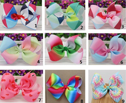 Wholesale Hot Sale Hair Clip - HOT SALE 6inch big Grosgrain Ribbon Hair Bows WITH Alligator Clip Rainbow Bow Clips For Girls Kids Hair Gift Cute Christmas Bows