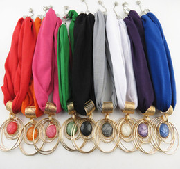 Wholesale Scarf Alloy Charms - Bib Necklace Scarves Jewellery Pendant Scarf Wraps Resin With Diamond Alloy Jewelry necklace Scarf for women 9 colors