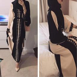 Wholesale Muslim Abaya Clothing - Muslim Open Abaya Dress Elegant Cotten Linen Lace Cardigan Long Robe Kimono Jubah Ramadan Arabic Turkish Islamic Prayer Clothing