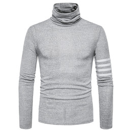 Wholesale Korean Winter Sweaters - 2017 autumn winter Europe new high-necked sweater Korean men's self-cultivation sweater brand clothing solid color long-sleeved Slim