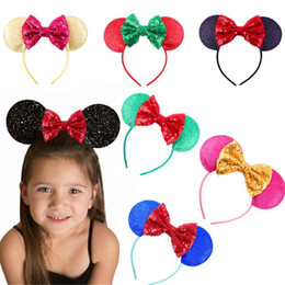 Wholesale Mice Ears Headband - 5PCS Sequin Bow Infant Baby Headbands Mouse Ear Girl Hairband Headwear Kids Baby Photography Props NewBorn Baby Hair bands Accessories