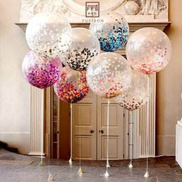 Wholesale Transparent Latex Balloon - 5pcs 18inch big balloon multicolor confetti balloon Brithday Party wedding decoration Latex Transparent Clear Balloon