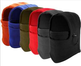 Wholesale Black Football Helmet - 6in1 Thermal Fleece Balaclava Hats Hood Police Swat Ski Mask Bike Beanies Winter Wind Stopper Face Caps Motor Helmet outdoor