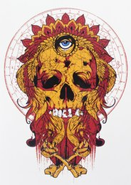 Wholesale Fire Eyes - Wholesale- Flame Fire Skull with Eye Tattoo 21 X 15 CM Sized Sexy Cool Beauty Tattoo Waterproof Hot Temporary Tattoo Stickers