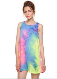 Wholesale female neck ties - Women Tie Dye Short Vest Dress 2017 Summer Loose Gradient O neck Female Mini T Shirt Tank Dresses