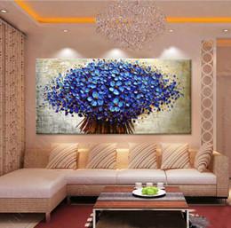 Wholesale Texture Oil Art Paint - Hand Painted palette knife 3D texture flower decorative wall pictures canvas art home decoration christmas gift