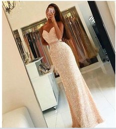 Wholesale Bridesmaid Luxury Crystal - 2017 Sexy Luxury Sparkle Bling Prom Dresses Mermaid Champagne Sequins Lace Backless Long Prom Dresses Evening Wear Cheap Bridesmaid Dresses