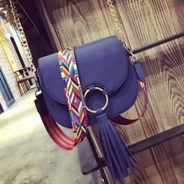 Wholesale Girls Saddles - 2017 saddle bag women famous brand tassel Bag color strap shoulder bags fashion small crossbody bags female chain bolsas for girl sac