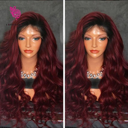 Wholesale 99j Wigs - 360 Lace Frontal Wigs For Black Women Ombre Deep Wave 150 Density 1BT 99j Two Tone Pre Plucked Natural Hairline 360 Lace Wig