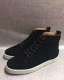 Wholesale Stud Sneakers For Men - black red bottom shoes for men real leather high top sneakers mens shoes large sizes luxury gold pointed rivets stud mens casual shoe