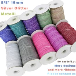 """Wholesale Elastic Items - 5 8"""" 16mm Silver Glitter Metallic Fold Over Elastic for Baby Hair Tie Craft DIY Items Garment Gift Accessories Sewing 50 Yards"""