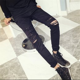 Wholesale Torn Legging Pants - Wholesale-Rock Designer Ripped Skinny Jeans Men Hip Hop Slim Straight Leg Men's Torn Denim Pants Black With Holes