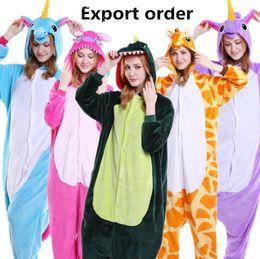 Wholesale Kids Bear Costumes - Kids Adults Animal Pajamas Unicorn Bear Stitch Skull Pig Dinosaur Zebra Panda Owl Tigger Pikachu Rabbit Cosplay Sleepwear Costumes LJJO3137