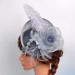 Wholesale Tea Party Fascinator Hats - Beatutiful Women Flower Feather Fascinator Bride Wedding Hats 10 Colors Vintage Cocktail Hairpin Headband Tea Party Tophat Headwear New