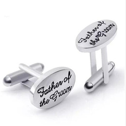 Wholesale Christmas Weddings Tuxedos - Father's Wedding Gift Cuff Links for Men Tuxedo Stylish Cufflinks Silver Plated Oval Father of The Groom French Shirt Cuff Links