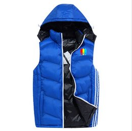 Wholesale Hooded Vest Xl - AD Winter Mens Vests Coats Outerwear Cotton Padded Vests men Sport coat Hooded Padded Size XL-4XL 3 Colors 2017 spring Hot sales