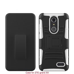 Wholesale Cover Zte Grand X - Hard Back Cover Combon Case With Kickstand For ZTE Grand X 4 PC+Silicone 2 IN 1 Anti-shock Slim 100% Fitted Shell Protector
