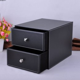 Wholesale Office File Box Organizer - Wholesale- double layer double drawer wood leather desk set filing cabinet storage box office organizer document container holder 214A