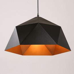 Wholesale Pendant Metal Shade - Retro Ceiling Light Pendant Hexagon Metal Shade Home Office Art Lamp Black