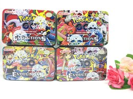 Wholesale Pokemon Box Set - 42Cards Set POKE GO Trading Card Games Newest English Edition Anime Monsters Cards board games Card Toys Children Kids cards Iron box