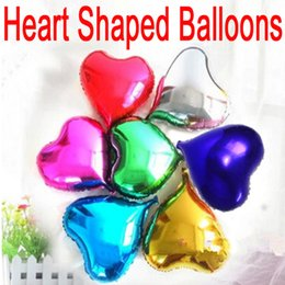Wholesale Heart Shaped Silver Foil Balloons - 2017 New Style 10 inch Love Heart Shaped Balloons Foil Balloon Birthday Party Wedding Decorations Supplies C156Q