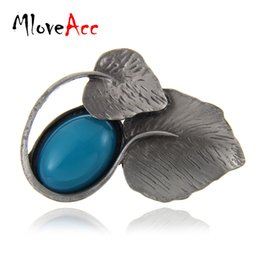 Wholesale Antique Figures - MloveAcc Retro Style Yellow Resinl Stone Brooches Pendant Jewelry Antique Vintage Leaf Brooches & Pins Dress Accessories