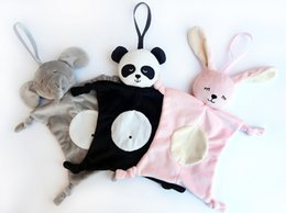 Wholesale Panda Rabbit - 28*28cm Appease Towel Baby Toy INS Explosion Models Bibs Can Chew Toy Baby Doll Panda Rabbit Elephant monkey Children Plaything 4 styles