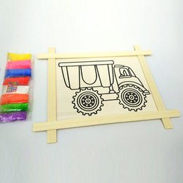 Wholesale Handmade Wooden Paintings - 10 inch handmade DIY painting supplies wooden frame color sand painting puzzle children education toys 26.7 * 32cm