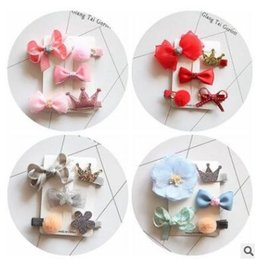 Wholesale Sequin Flower Clips - 5pcs lot Newborn Sequins Bow Clip Fashion Cute Printed Flower Infant Baby Crown Bow Hair Clips Hairpins Kids Girls Hair Accessories 868
